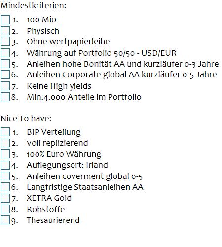ETF Sparpläne Mindestkiterien